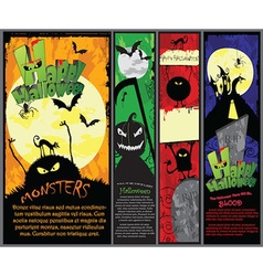 Set of 4 vertical halloween banners in different vector