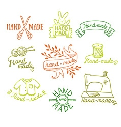 Set of vintage retro knitting badges labels and vector