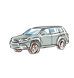 Colored hand drawn car on white background of a su vector