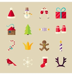 Flat winter happy new year objects set vector