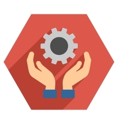 Engine maintenance flat hexagon icon with long vector