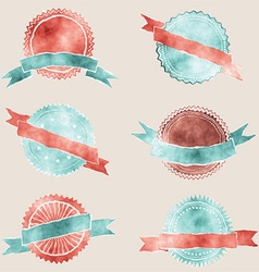 watercolor badges with ribbons 2601 vector image