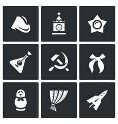 Set of russia country icons soldier field vector