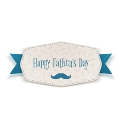 Happy fathers day label with blue ribbon vector