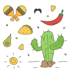 Colorful mexican doodle hand-drawn set vector