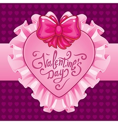 Happy valentine day pink card vector