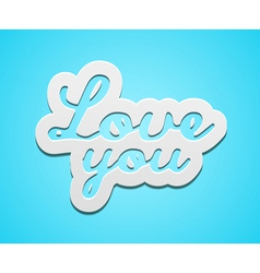 Simple love you text badge on blue background vector image
