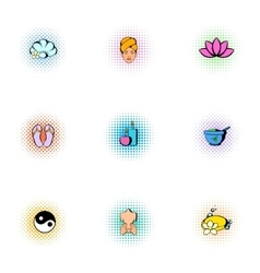 Beauty salon icons set pop-art style vector
