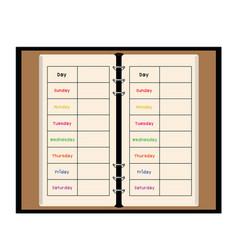 Black notebook weekly planner vector