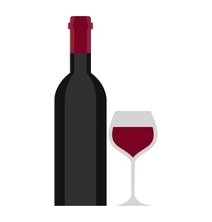 Bottle and glass icon cartoon style vector image