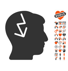 Brain electric strike icon with love bonus vector