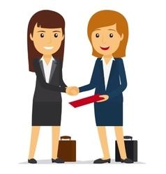 Business women shaking hands vector