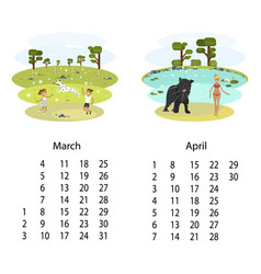calendar 2018 march april vector image vector image
