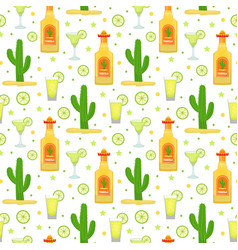 Cinco de mayo seamless pattern with tequila and vector