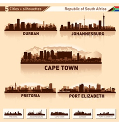 City skyline set 5 silhouettes of South Africa vector image vector image
