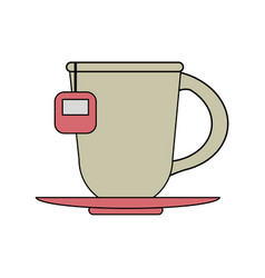 Color image cartoon porcelain cup of tea with vector
