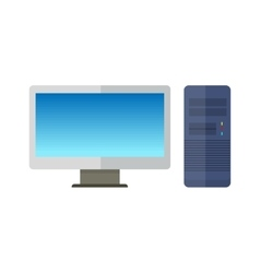 Computer Monitor with Computer System Unit vector image