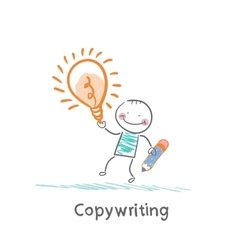 Copywriter holding a pencil and an idea vector