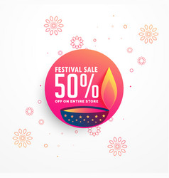 creative diwali sale banner design with burning vector image