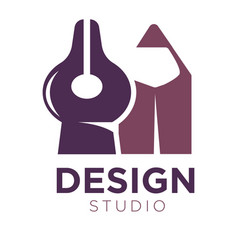 design studio logotype with pencil and divider vector image