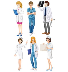 Doctors and nurses vector image vector image