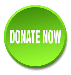 Donate now green round flat isolated push button vector