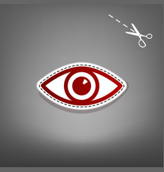 Eye sign red icon with for vector