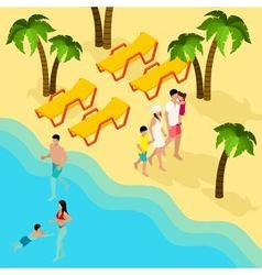 Family tropical beach vacation isometric banner vector