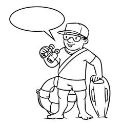 Funny lifeguard coloring book vector