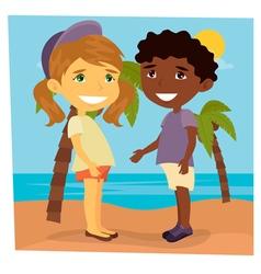 Girl on the beach beach vacation girl and boy vector