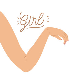 girl poster with delicate pose of female right arm vector image