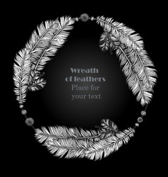 hand drawn feathers wreath on black background vector image vector image