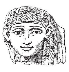 ivory carving female head in high relief vintage vector image