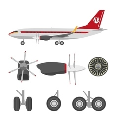 Jets constructor flat icons aircraft parts vector
