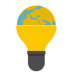 light bulb and planet earth icon isolated vector image vector image