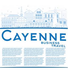 Outline cayenne skyline with blue buildings vector