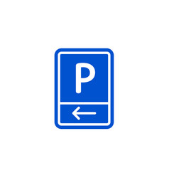 Parking zone to left roadsign isolated vector