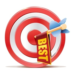 Red darts target aim and banner BEST vector image