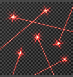 red laser beams light effect isolated on vector image vector image