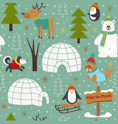 seamless pattern with arctic animals vector image