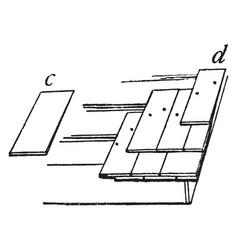 Shingles rectangular shapes vintage engraving vector