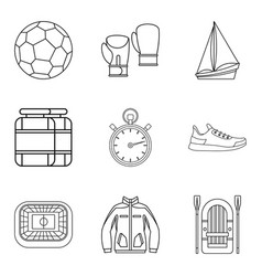 sport training icons set outline style vector image vector image