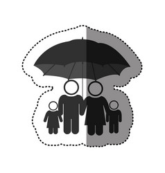 Sticker of black pictogram of umbrella protecting vector