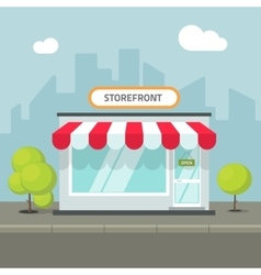 Storefront in the city store building on vector image vector image