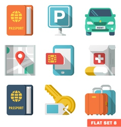 Traveling Flat Icons 2 vector image