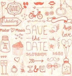 Wedding doodle designs vector