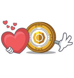 With heart komodo coin mascot cartoon vector