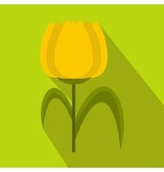 Yellow tulip icon flat style vector image