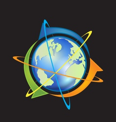 World with arrows vector image