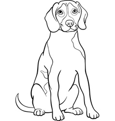 Beagle dog cartoon for coloring book vector